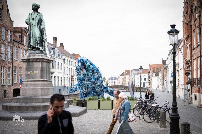 Plastic Whale (Ocean Pollution) in Bruges, Belgium