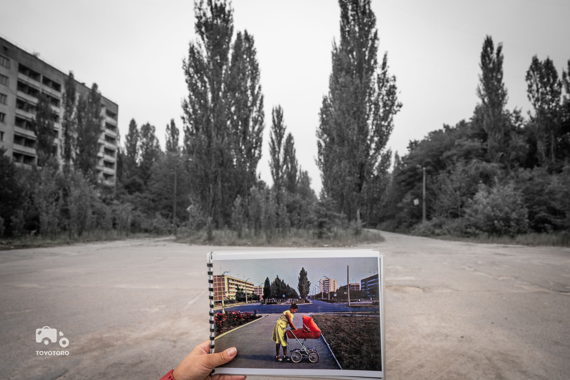 Pripyat main square then & now