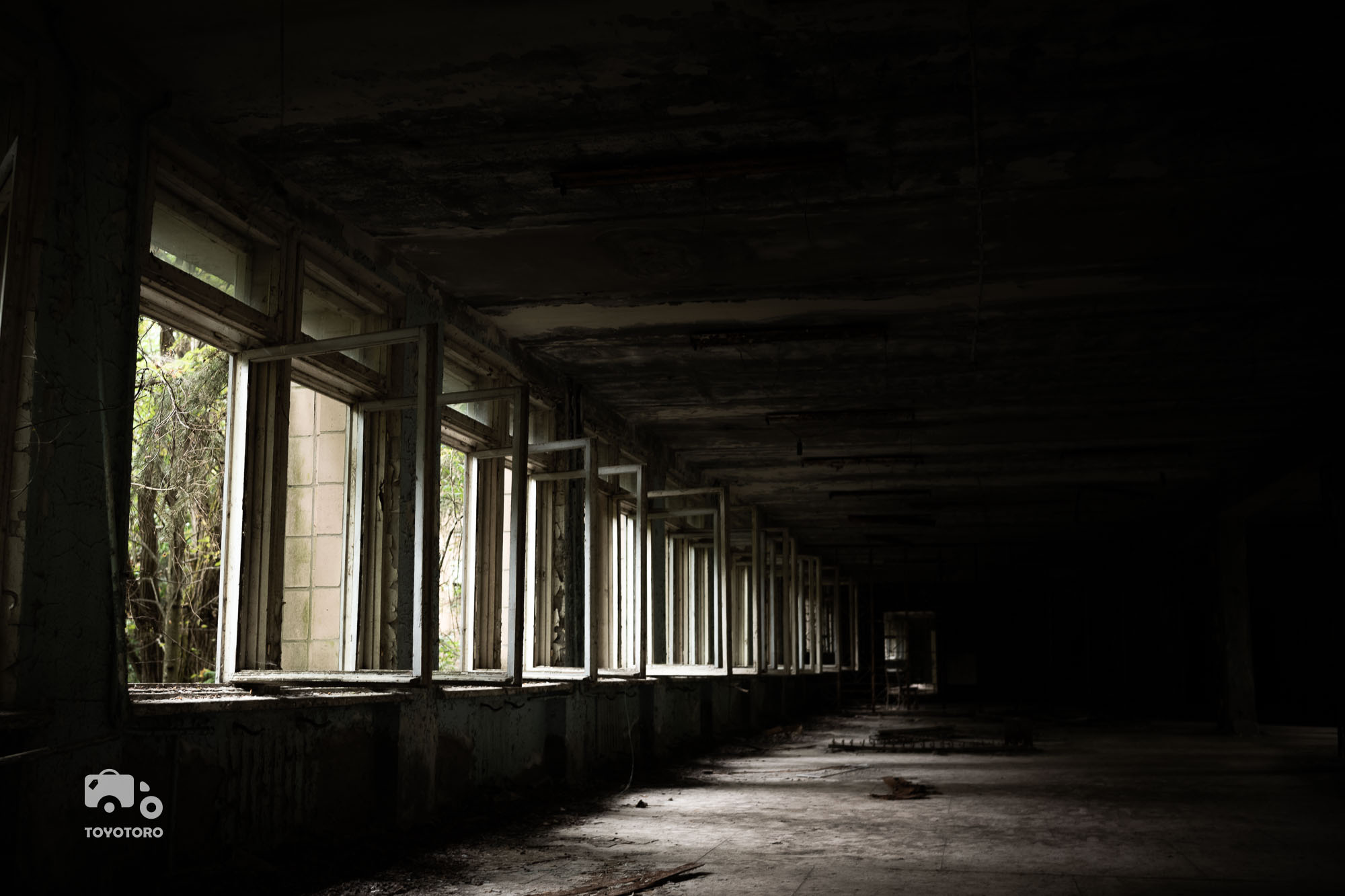 Hall in abandoned Pripyat school (Chernobyl)